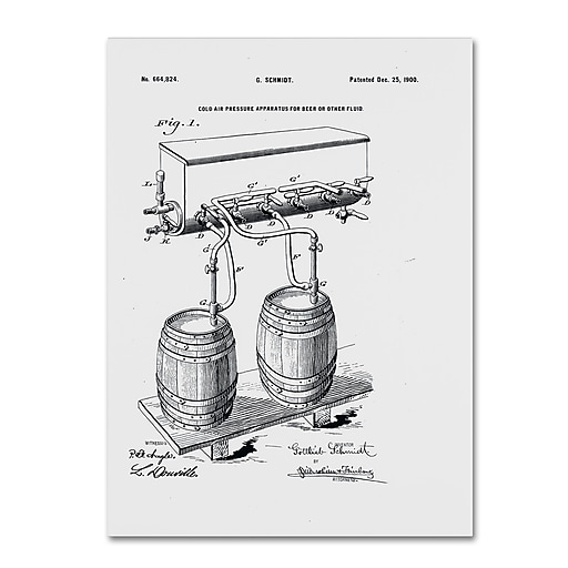 """Trademark Fine Art ''Art Of Brewing Beer Patent White'' by Claire Doherty 14"""" x 19"""" Canvas Art (CDO0009-C1419GG)"""