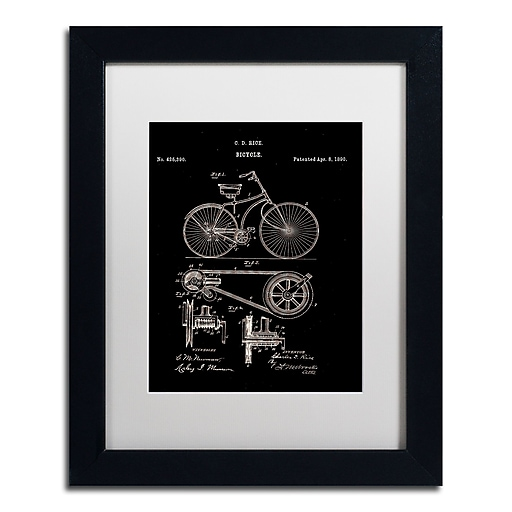 """Trademark Fine Art ''Bicycle Patent 1890 Black'' by Claire Doherty 11"""" x 14"""" White Matted Black Frame (CDO0010-B1114MF)"""