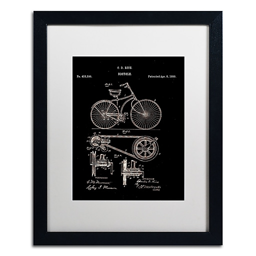 "Trademark Fine Art ''Bicycle Patent 1890 Black'' by Claire Doherty 16"" x 20"" White Matted Black Frame (CDO0010-B1620MF)"