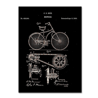 Trademark Fine Art ''Bicycle Patent 1890 Black'' by Claire Doherty 24