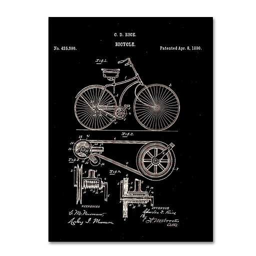 "Trademark Fine Art ''Bicycle Patent 1890 Black'' by Claire Doherty 24"" x 32"" Canvas Art (CDO0010-C2432GG)"