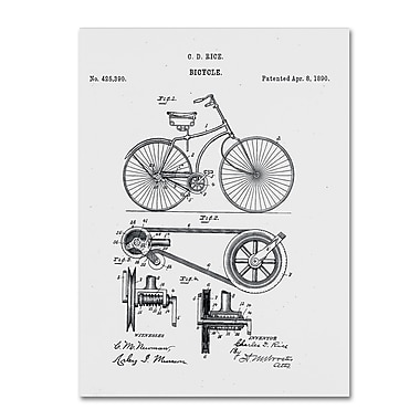 Trademark Fine Art ''Bicycle Patent 1890 White'' by Claire Doherty 24