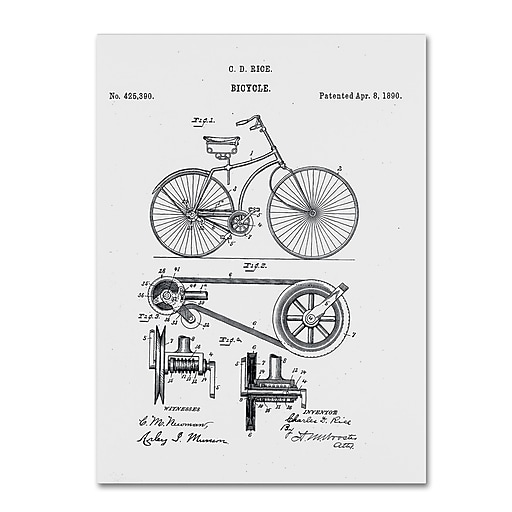 """Trademark Fine Art ''Bicycle Patent 1890 White'' by Claire Doherty 24"""" x 32"""" Canvas Art (CDO0011-C2432GG)"""