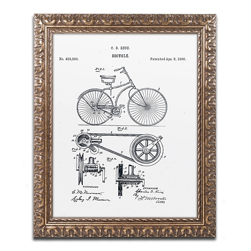 """Trademark Fine Art ''Bicycle Patent 1890 White'' by Claire Doherty 16"""" x 20"""" Ornate Frame (CDO0011-G1620F)"""