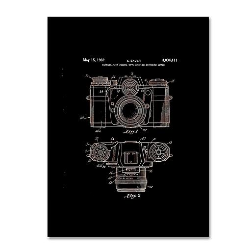 "Trademark Fine Art ''Photographic Camera Patent 1962 Black'' by Claire Doherty 24"" x 32"" Canvas Art (CDO0014-C2432GG)"