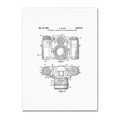 Trademark Fine Art ''Photographic Camera Patent 1962 White'' by Claire Doherty 24