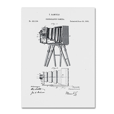 Trademark Fine Art ''Photographic Camera Patent 1885 White'' by Claire Doherty 24