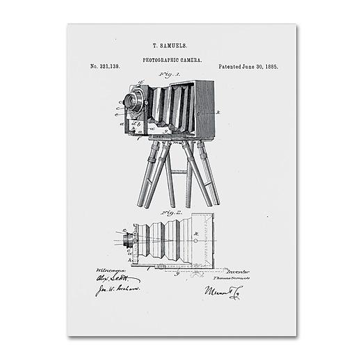 "Trademark Fine Art ''Photographic Camera Patent 1885 White'' by Claire Doherty 18"" x 24"" Canvas Art (CDO0017-C1824GG)"
