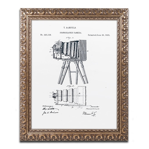 """Trademark Fine Art ''Photographic Camera 1885 White'' by Claire Doherty 16"""" x 20"""" Ornate Frame (CDO0017-G1620F)"""