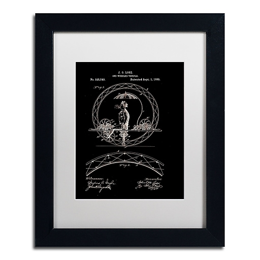 """Trademark Fine Art ''One Wheeled Vehicle 1885 Black'' by Claire Doherty 11"""" x 14"""" White Matted Black Frame (CDO0031-B1114MF)"""
