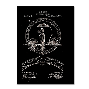 Trademark Fine Art ''One Wheeled Vehicle Patent 1885 Black'' by Claire Doherty 18