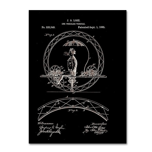"""Trademark Fine Art ''One Wheeled Vehicle Patent 1885 Black'' by Claire Doherty 24"""" x 32"""" Canvas Art (CDO0031-C2432GG)"""