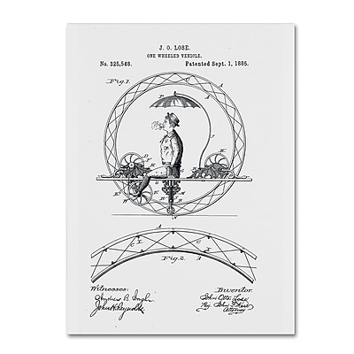 Trademark Fine Art ''One Wheeled Vehicle Patent 1885 White'' by Claire Doherty 24