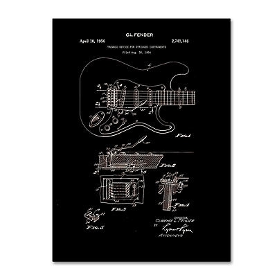 Trademark Fine Art ''Fender Guitar Tremolo Patent 1956 Black'' by Claire Doherty 14