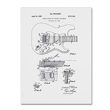 Trademark Fine Art ''Fender Guitar Tremolo Patent 1956 White'' by Claire Doherty 18