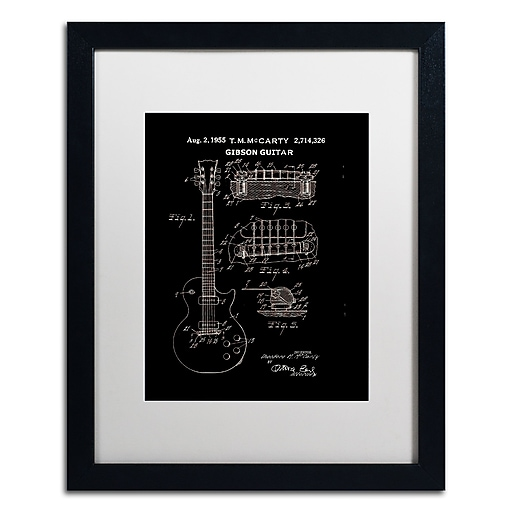 """Trademark Fine Art ''1955 Mccarty Gibson Guitar Black'' by Claire Doherty 16"""" x 20"""" White Matted Black Frame (CDO0068-B1620MF)"""