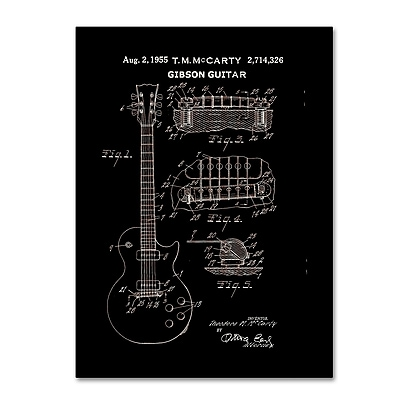 Trademark Fine Art ''1955 Mccarty Gibson Guitar Patent Black'' by Claire Doherty 24