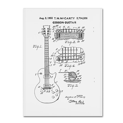 Trademark Fine Art ''1955 Mccarty Gibson Guitar Patent White'' by Claire Doherty 18