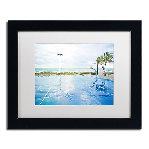 "Trademark Fine Art ''Basketball by the Beach'' by Preston 11"" x 14"" White Matted Black Frame (EM0507-B1114MF)"