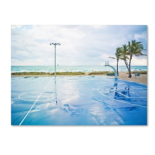 "Trademark Fine Art ''Basketball by the Beach'' by Preston 35"" x 47"" Canvas Art (EM0507-C3547GG)"