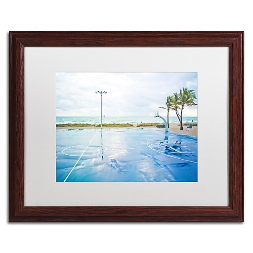"Trademark Fine Art ''Basketball by the Beach'' by Preston 16"" x 20"" White Matted Wood Frame (EM0507-W1620MF)"