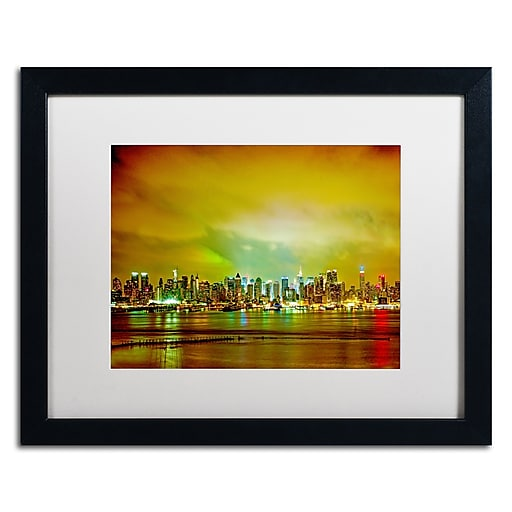 "Trademark Fine Art ''City Skyline'' by Preston 16"" x 20"" White Matted Black Frame (EM0508-B1620MF)"