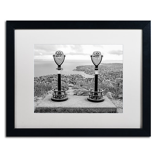 "Trademark Fine Art ''Tower Viewers BW'' by Preston 16"" x 20"" White Matted Black Frame (EM0510-B1620MF)"