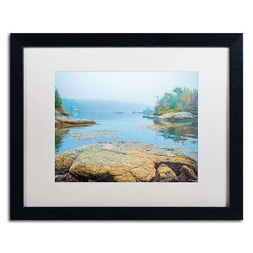 "Trademark Fine Art ''Foggy Lake'' by Preston 16"" x 20"" White Matted Black Frame (EM0511-B1620MF)"