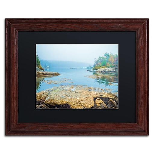 """Trademark Fine Art ''Foggy Lake'' by Preston 11"""" x 14"""" Black Matted Wood Frame (EM0511-W1114BMF)"""