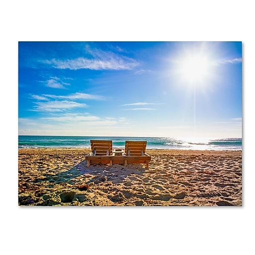 "Trademark Fine Art ''Florida Beach Chair'' by Preston 14"" x 19"" Canvas Art (EM0517-C1419GG)"