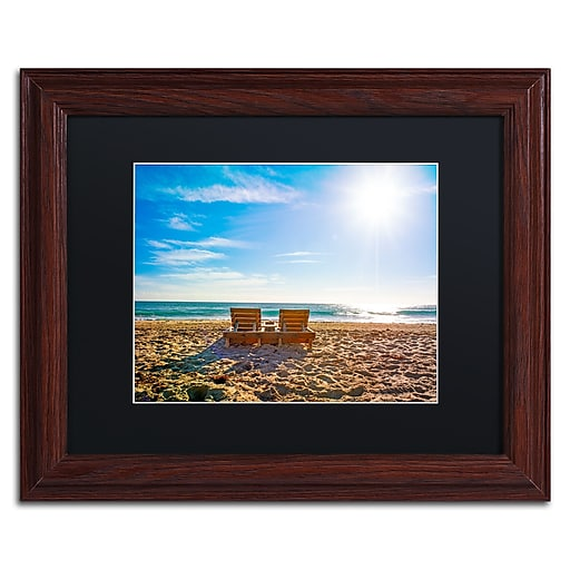 "Trademark Fine Art ''Florida Beach Chair'' by Preston 11"" x 14"" Black Matted Wood Frame (EM0517-W1114BMF)"