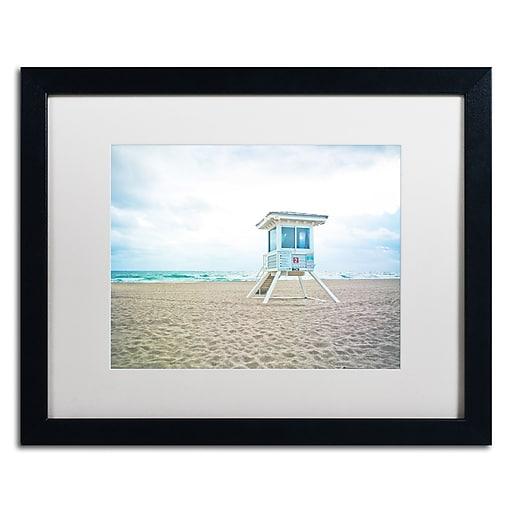 "Trademark Fine Art ''Florida Beach Chair 2'' by Preston 16"" x 20"" White Matted Black Frame (EM0518-B1620MF)"
