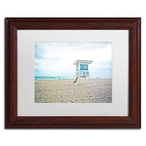 "Trademark Fine Art ''Florida Beach Chair 2'' by Preston 11"" x 14"" White Matted Wood Frame (EM0518-W1114MF)"