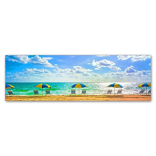 "Trademark Fine Art ''Florida Beach Chairs Umbrellas'' by Preston 10"" x 32"" Canvas Art (EM0519-C1032GG)"