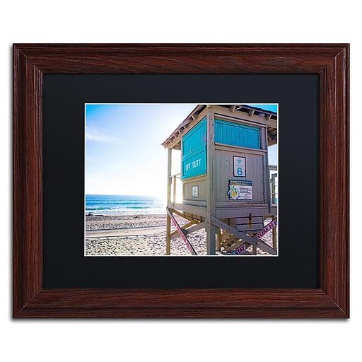 "Trademark Fine Art ''Florida Beach Guard'' by Preston 11"" x 14"" Black Matted Wood Frame (EM0520-W1114BMF)"