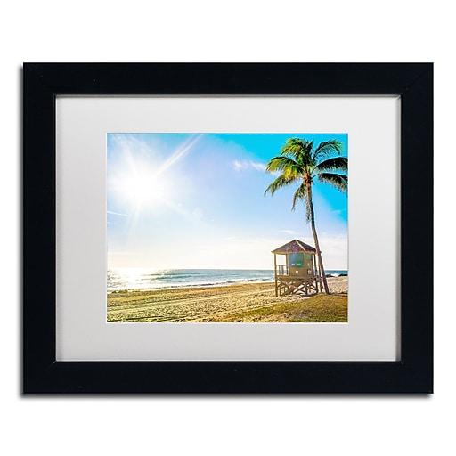 "Trademark Fine Art ''Florida Beach Palm'' by Preston 11"" x 14"" White Matted Black Frame (EM0521-B1114MF)"