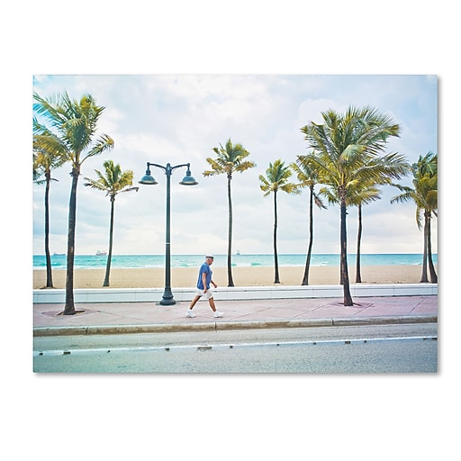 "Trademark Fine Art ''Florida Beach Walk'' by Preston 14"" x 19"" Canvas Art (EM0523-C1419GG)"