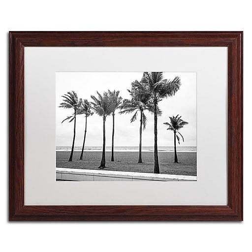 "Trademark Fine Art ''Florida BW Beach Palms'' by Preston 16"" x 20"" White Matted Wood Frame (EM0524-W1620MF)"