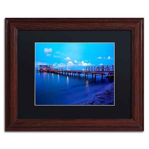 "Trademark Fine Art ''Florida Pier'' by Preston 11"" x 14"" Black Matted Wood Frame (EM0527-W1114BMF)"