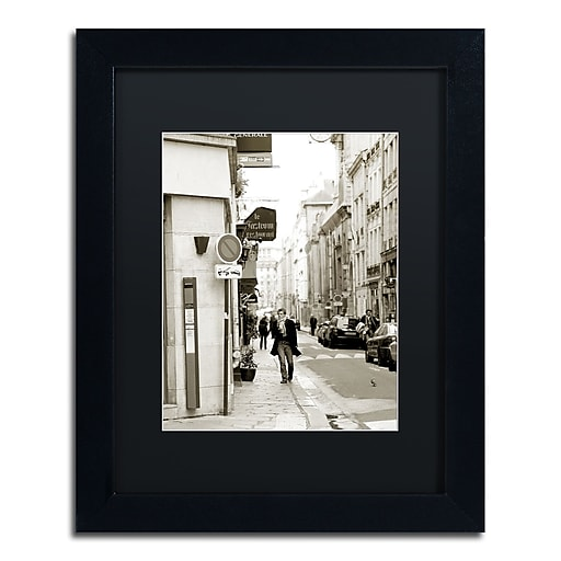 "Trademark Fine Art ''Man in Paris'' by Preston 11"" x 14"" Black Matted Black Frame (EM0541-B1114BMF)"