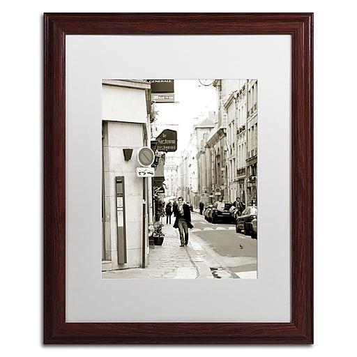 """Trademark Fine Art ''Man in Paris'' by Preston 16"""" x 20"""" White Matted Wood Frame (EM0541-W1620MF)"""