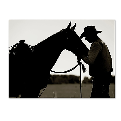 "Trademark Fine Art ''Montana Horse Rancher Shadow'' by Preston 18"" x 24"" Canvas Art (EM0543-C1824GG)"