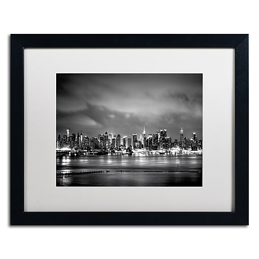 "Trademark Fine Art ''New York Skyline'' by Preston 16"" x 20"" White Matted Black Frame (EM0546-B1620MF)"