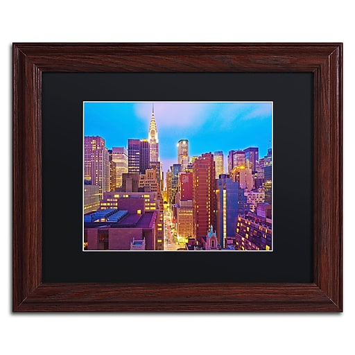 "Trademark Fine Art ''New York'' by Preston 11"" x 14"" Black Matted Wood Frame (EM0548-W1114BMF)"