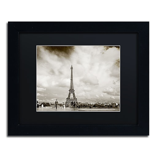 "Trademark Fine Art ''Paris Eiffel Tower and Man'' by Preston 11"" x 14"" Black Matted Black Frame (EM0551-B1114BMF)"