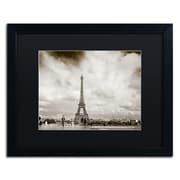 "Trademark Fine Art ''Paris Eiffel Tower and Man'' by Preston 16"" x 20"" Black Matted Black Frame (EM0551-B1620BMF)"