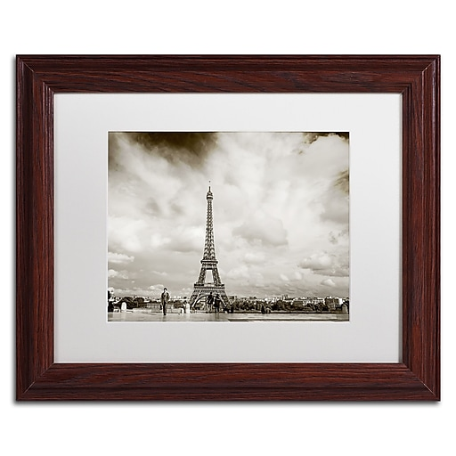 "Trademark Fine Art ''Paris Eiffel Tower and Man'' by Preston 11"" x 14"" White Matted Wood Frame (EM0551-W1114MF)"