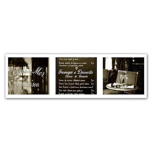 """Trademark Fine Art ''Paris Triptych Restaurant'' by Preston 10"""" x 32"""" Canvas Art (EM0553-C1032GG)"""