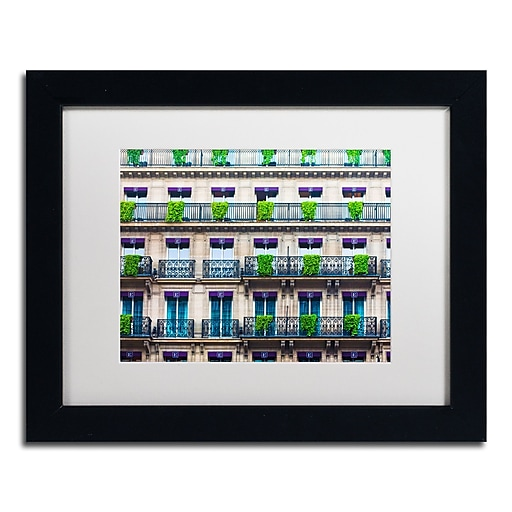 "Trademark Fine Art ''Parisian Apartments'' by Preston 11"" x 14"" White Matted Black Frame (EM0555-B1114MF)"