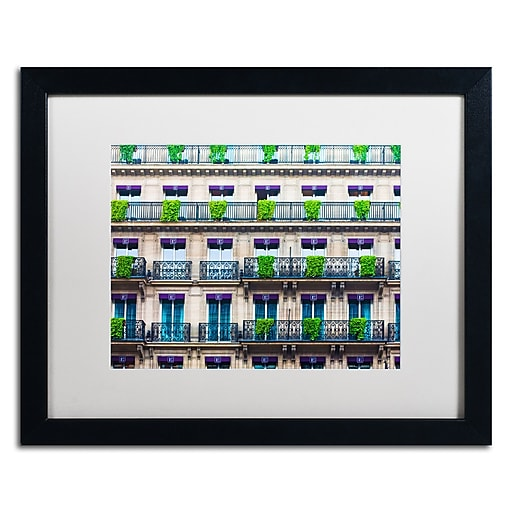 "Trademark Fine Art ''Parisian Apartments'' by Preston 16"" x 20"" White Matted Black Frame (EM0555-B1620MF)"